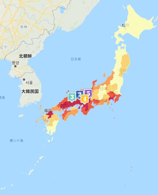 【地図2:世帯当りパン消費購買力(県単位、2017年)】