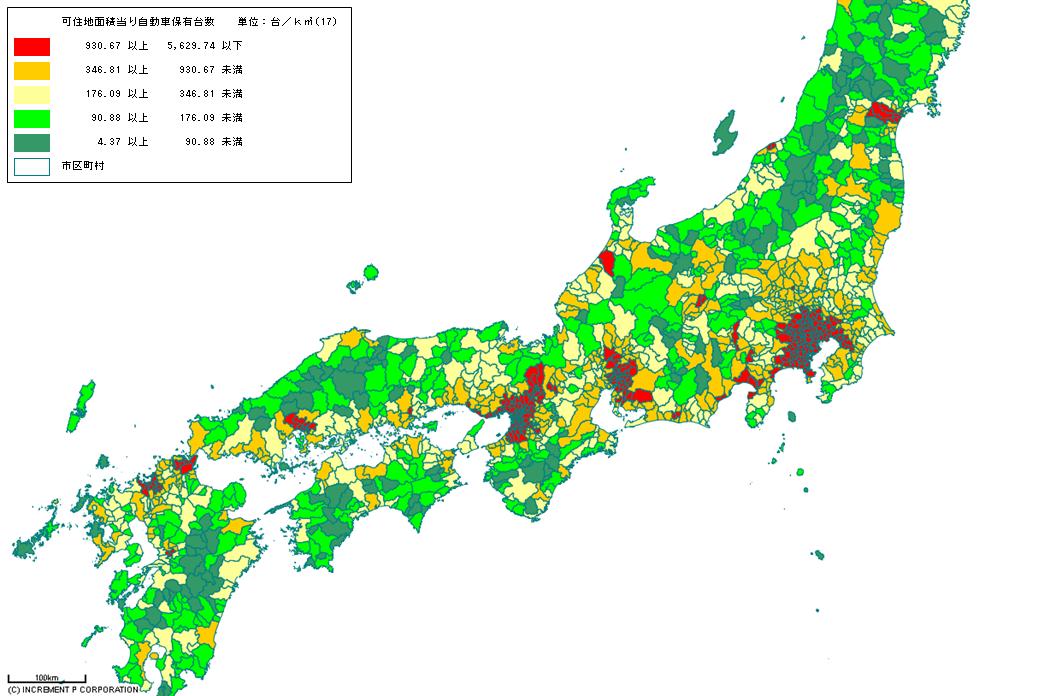[図3]可住地面積当り自動車保有台数