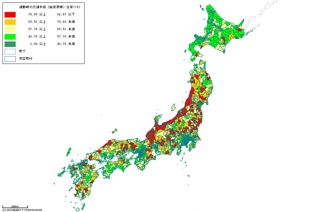 [図8]自家用車での通勤者比率(四国地方)