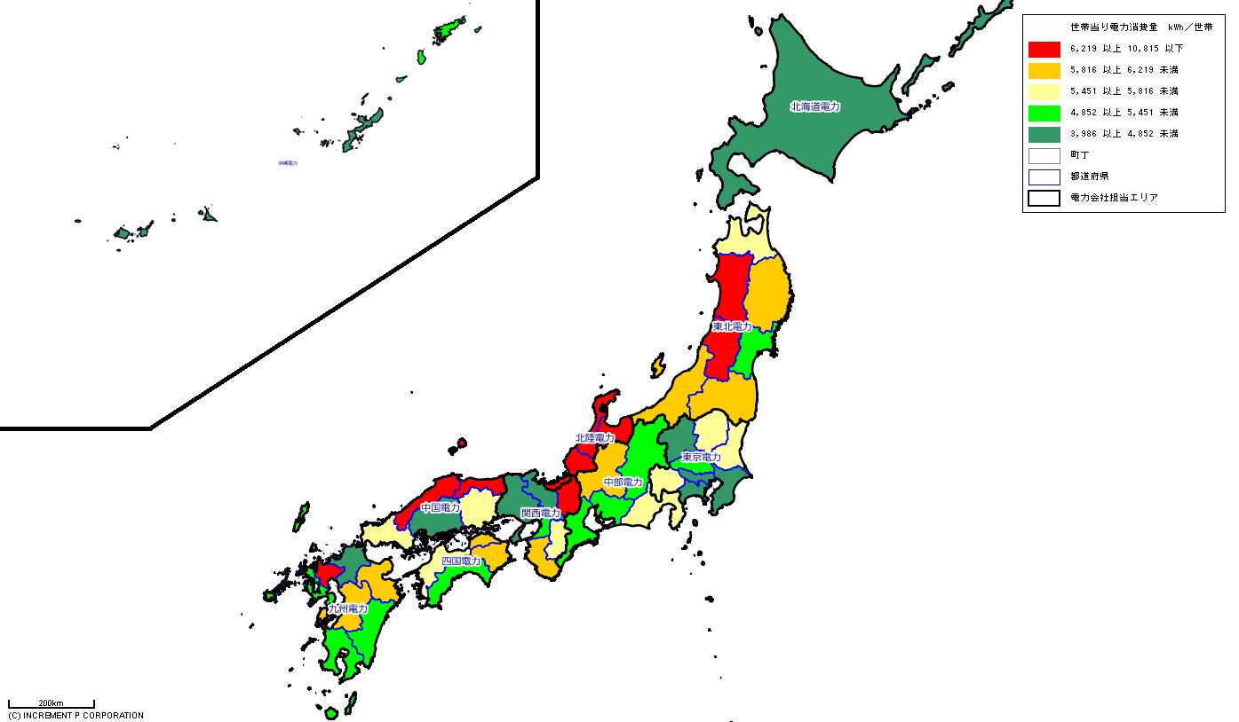 [図2]世帯当り電力消費量及び電力会社営業エリアマップ